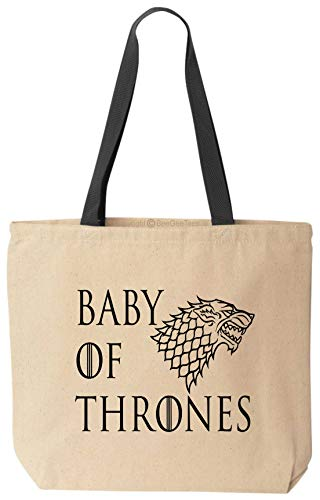 BeeGeeTees Baby of Thrones Funny Tote Game of Thrones Natural Canvas Stark Bag
