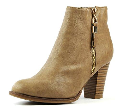 Qisicode 67609 Damen Chelsea-Boots Stiefel 3 Farben Plateau Stiefelette (EU 36-41) Beige
