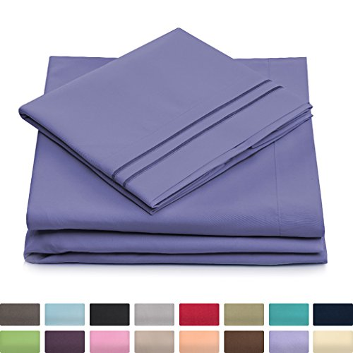 California King Bed Sheets - Peacock Blue Luxury Sheet Set - Deep Pocket - Super Soft Hotel Bedding - Cool & Wrinkle Free - 1 Fitted, 1 Flat, 2 Pillow Cases - Periwinkle Cal King Sheets - 4 Piece (Periwinkle Home Decor Fabric)