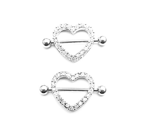 Nipple Ring (2PCS Nipple rings Heart shape Nickel free body piercing jewelry 14G Surgical Steel a pair)