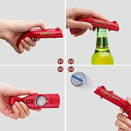 Abridor de Botellas, abrelatas con Tapa de Resorte, Lanzador de catapultas, Forma de Pistola Creativa, Herramienta de Apertura de Bebidas(Rojo)