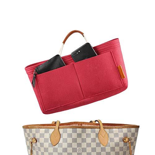 FOREGOER Felt Purse Insert Handbag Organizer Bag in Bag Organizer with Handles (Large, Red)