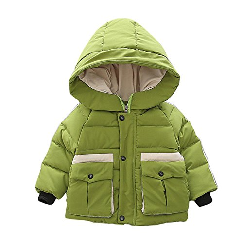 Fullfun 2-6T Toddler Boys Winter Hooded Thick Warm Coat (Green, 3T) by Fullfun (Image #1)