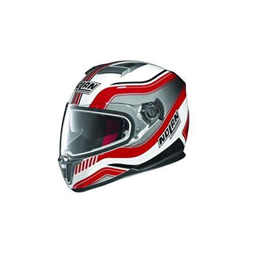 Nolan N-86 Deep Non N-Com Motorcycle Helmet Metallic White/Red (N-com Motorcycle Helmet)