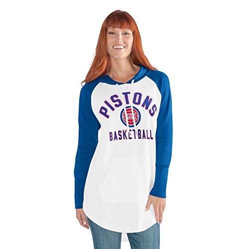 GIII For Her NBA Detroit Pistons Adult Women All Division Tunic Hoody, Medium, White/Blue