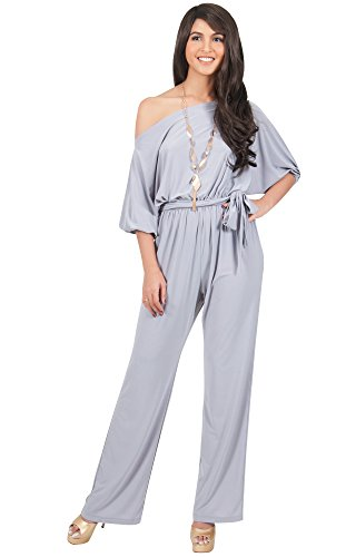 b3a176cfad57 ... KOH Womens One Off Shoulder Short Sleeve Piece Jumpsuit Pant Suit Romper.    