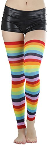 Acrylic Warmers Leg (ToBeInStyleWomen's Rainbow Footless Acrylic Thigh Hi Leg Warmer - Rainbow)