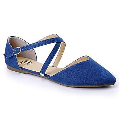 Trary Women's D'Orsay Criss Cross Strap Ballet Flat Shoes Orange Size: 5