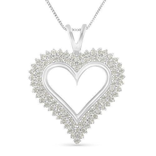 (Sterling Silver 1ct TDW Diamond Heart Pendant Necklace (I-J, I3-Promo))
