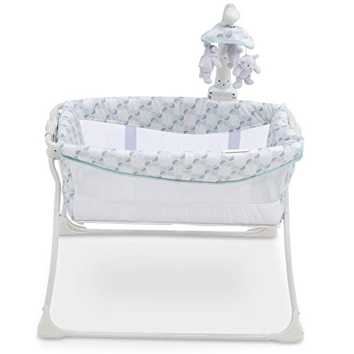 41MUp7hJoDL - Delta Children Deluxe Activity Sleeper Bedside Bassinet - Folding Portable Crib For Newborns, Windmill