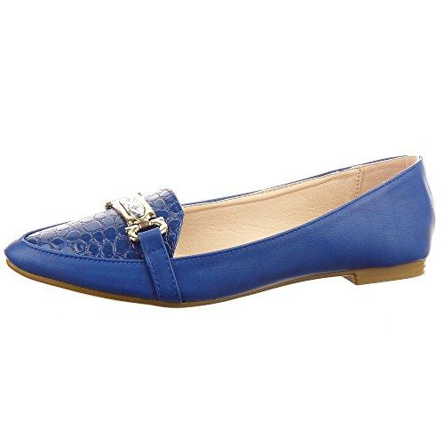 Sopily - Scarpe da Moda ballerina alla caviglia donna nodo metallico strass Tacco a blocco 1 CM - Blu