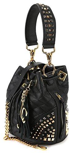 LA CARRIE BAG SECCHIELLO MEDIO MOD 172-E-885 ROCK ROLL BORCHIE BLACK-GOLD