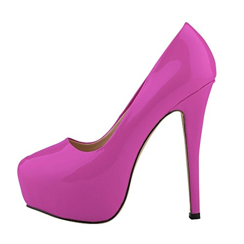 HooH Women's Simple Candy Color OL Platform Stiletto Dress Pump Purple 8kTSzPM