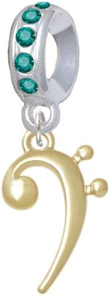 Birthday Crystal Charm Bead Delight Jewelry Goldtone Bass Clef