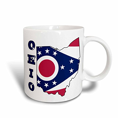 3dRose Ohio State Flag in The Outline Map and Letters for Ohio Ceramic Mug, 11-Ounce ()