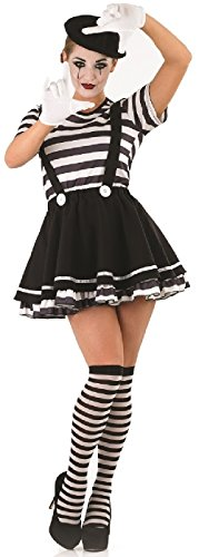 Ladies 5 Piece Sexy French Mime Artist Circus Halloween Fancy Dress Costume Outfit UK 8-22 Plus Size (UK 16-18) Black/White