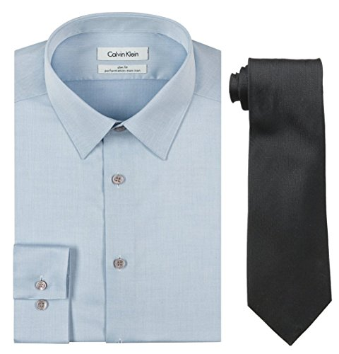 Calvin Klein Men's Blue Slim Fit Herringbone Dress Shirt and Silver Spun Tie Combo, Blue/Black, 17