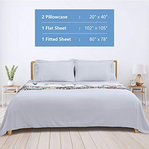 King Bed Sheet Set, 16-inch Deep Pocket Sheet, 4 Piece Hotel Luxury Soft Bedding Sheets, Light Grey, 1800 Thread Count Brushed Microfiber Sheet, Breathable Stay Cool Sheets, Resistant Fade Wrinkle.