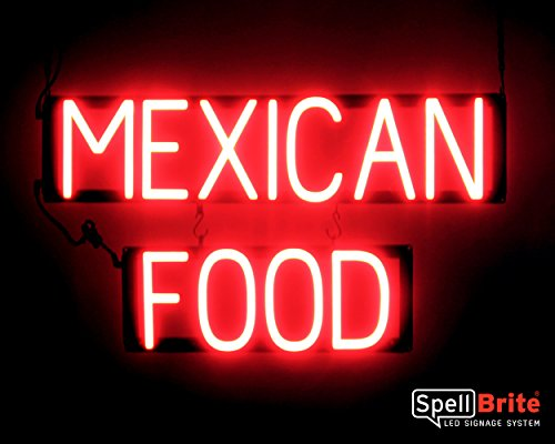 SpellBrite Ultra-Bright MEXICAN FOOD Sign Neon-LED Sign (Neon look, LED performance) ()