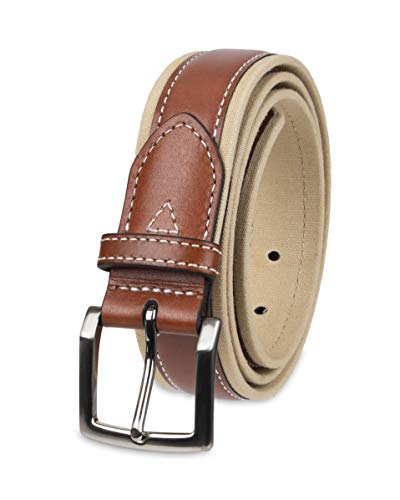 (Tommy Bahama Men's 1.5 in. Canvas Belt With Leather Overlay, Brown/Khaki, 40)