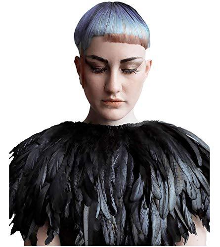 L'VOW Fashion Feather Cape Stole Black Shawl Iridescent]()
