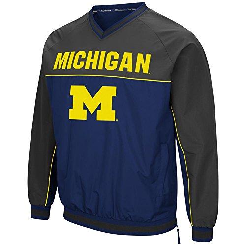 Jacket Colosseum - University of Michigan Wolverines Windbreaker Jacket Coach Klein Pullover (X-Large)