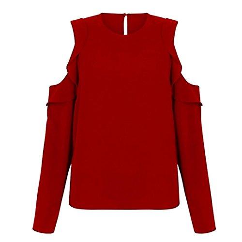 zahuihuiM Femmes Printemps Automne Mode Nouveau T-Shirt O-Cou  Manches Longues Volants Bretelles Occasionnels Solide Tops Blouses 2018 Nouveau Rouge