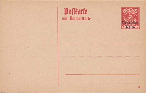Floral Reply Card (Germany Higgins and Gage 127 Bavaria 15pf Floral Attached Reply Postal Card Overprinted Deutches Reich. Unused.)