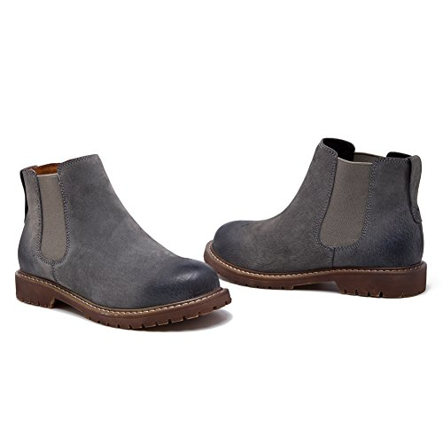 on Slip lined Chelsea fereshte Suede Short Fleece Ankle Boots Bootie Heel Low Women's Gray wnxqqOY60