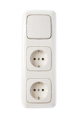 1 Stck Lichtschalter Steckdosen Tp Si 3 Fach Kombination Komplett