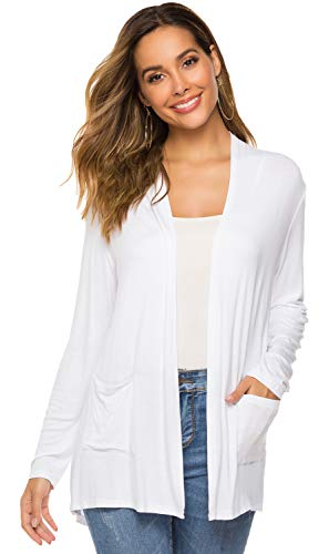 Womens Open Drape Cardigan Reg and Plus Size Cardigan Sweater Long Sleeves Cardigans(03White, M(8-10)) ()