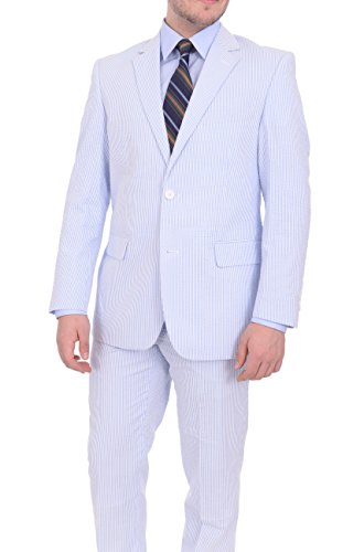 Lined Two Button Suit - Emigre Classic Fit Blue Pinstriped Two Button Cotton Seersucker Suit-38XL
