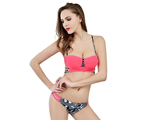 Yvon nelee Mujer Deportivo Bikini Set de baño Mode con parte superior Push Up y patillas Hot Pants Neck Holder cuencos
