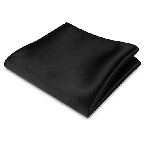Lightclub Men's Satin Solid Plain Color Handkerchief Hanky Pocket Square for Wedding Party (Black) by Lightclub (Image #1)