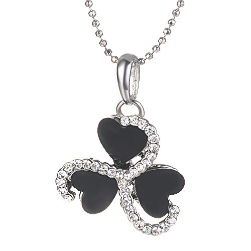 "Yves Renaud 0.65"" Pave Crystals Three Leaf Clover - Black Enameled Love Charm Triple Heart Pendant Necklace on a 20 Inch Ball Chain - St. Patricks Day Jewelry"