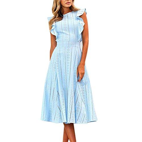 Vestido de fiesta mujer Vestido largo sexy mujer baratos Vestido de encaje de cuello redondo irregular sin mangas con cremallera sin manga Vestido de noche elegantes Amlaiworld Azul