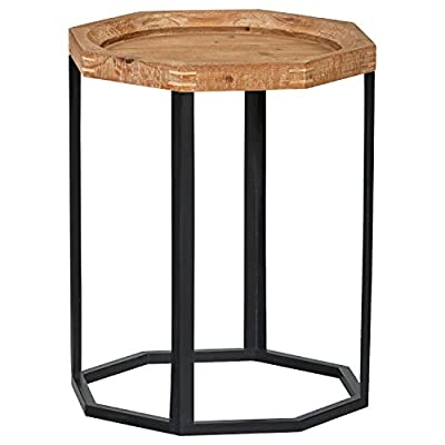 """Amazon Brand – Stone & Beam Arie Rustic Octagonal End Table or Stand - 17.3""""W - Natural - Wood top has unfinished, rustic look; black matte octagonal-shape base adds modern touch Eye-catching geometric piece ideal beside a sofa or your favorite chair Height: 21.9""""; Width: 17.3"""" - living-room-furniture, living-room, end-tables - 41MUscs9XkL. SS400  -"""