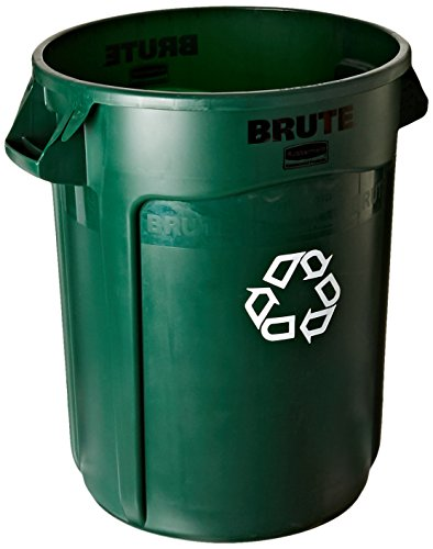 Rubbermaid Commercial Products Brute Recycling Container with Venting Channels, 32 gal, Dark Green (1788472) - Rubbermaid Recycling Green