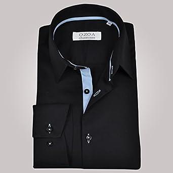 ozoa camisa para hombre negra Duo azul cielo – Camisa No ...