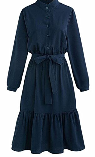 Collar Blue Sleeve Dress Casual Front Fashion Long Button UK Stand today Dark Long Womens 8qPIOWA