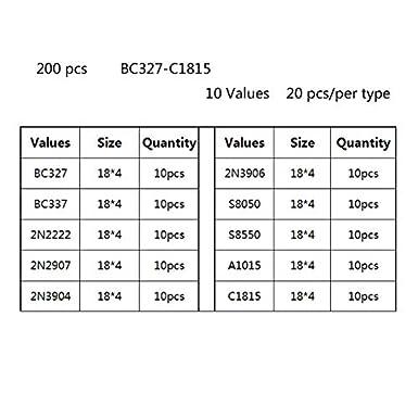 KEKE 200 pcs//lot Transistors Assortment Kit Plastic Box TO-92 10 Values 20pcs BC327 BC337 2N2222 2N2907 2N3904 2N3906 S8550 A1015 C1815