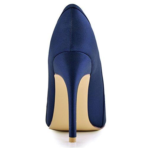 ElegantPark HC1603 Women's Pointed Toe High Heel V Cut Slip on Satin Dress Pumps Navy Blue US 9.5 by ElegantPark (Image #5)