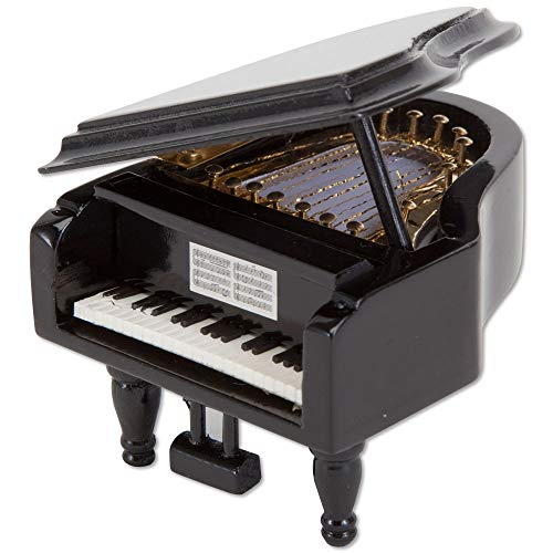 Bits and Pieces - Mini Musical Grand Piano Music Box Plays Wind Beneath My Wing - Wooden Wind-Up Music Box Plays for Two Minutes