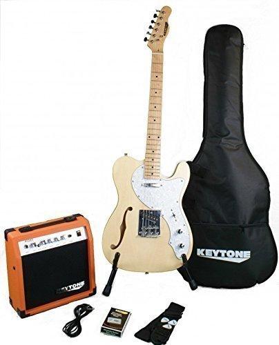 KEYTONE TL de F agujero Style Natural Deluxe Guitarra Eléctrica Set con Amplificador 20Watt & Accesorios