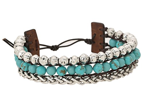 Boho-Chic Vacation & Fall Looks - Standard & Plus Size Styless - Lucky Brand Womens Blue Faux Wrap Bracelet Silver
