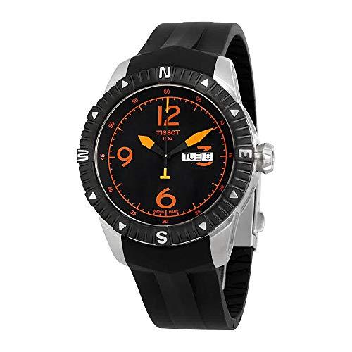 (Tissot Men's 'T Navigator' Black/Orange Dial Black Rubber Strap DateDay Automatic Watch T062.430.17.057.01)