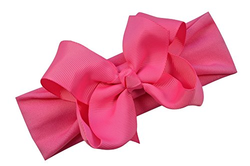 Grosgrain Bow Baby Headband By Funny Girl Designs Fits Newborn to 9 Months (Hot Pink)