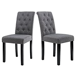 LSSBOUGHT Button Tufted Upholstered Fabric Dining Chairs With Solid Wood  Legs, Set Of 2