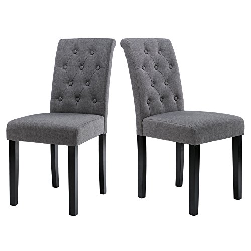LSSBOUGHT Button-tufted Upholstered Fabric Dining Chairs with Solid Wood Legs, Set of 2 (Gray) by LSSBOUGHT