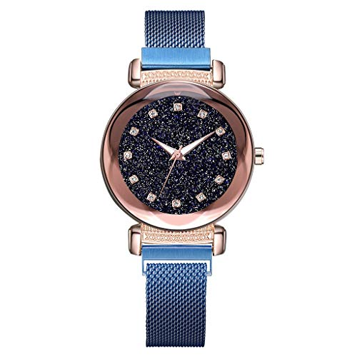 LUXISDE Watch Women Fashion Starry Sky Mosaic Diamond Quartz Mesh Belt Magnetic Buckle Ladies Watch -